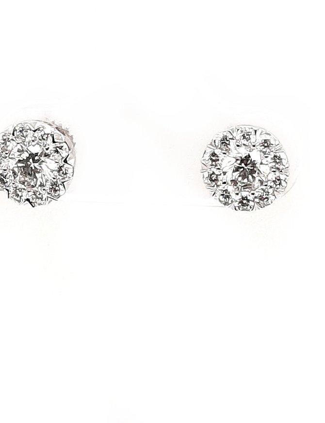 Diamond (0.71 ctw) halo stud earrings, 14 kt white gold