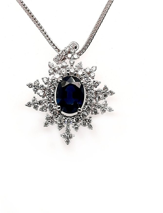 Sapphire (1.38 ct) & diamond (0.57 ctw) pendant, 14k white gold, chain not included