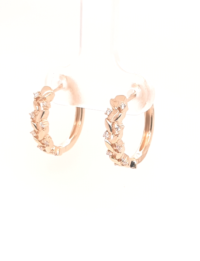 Diamond (0.11ctw) hoop earrings, 14k yellow gold