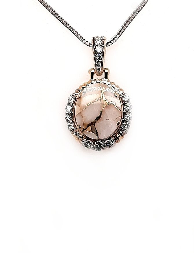 Gold quartz (3.68 ct) & diamond (0.266 ctw) pendant, 14 kt yellow gold, chain sold separately