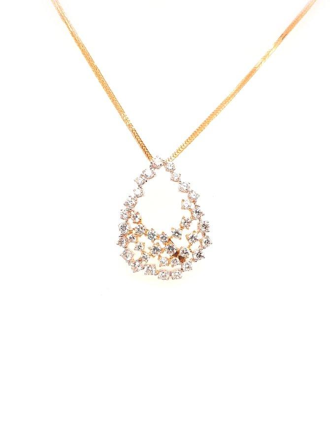 Diamond (0.857 ctw) 14 kt white & yellow gold pendant