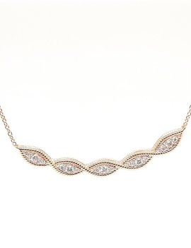Diamond (0.16 ctw) fashion necklace, 14k yellow gold