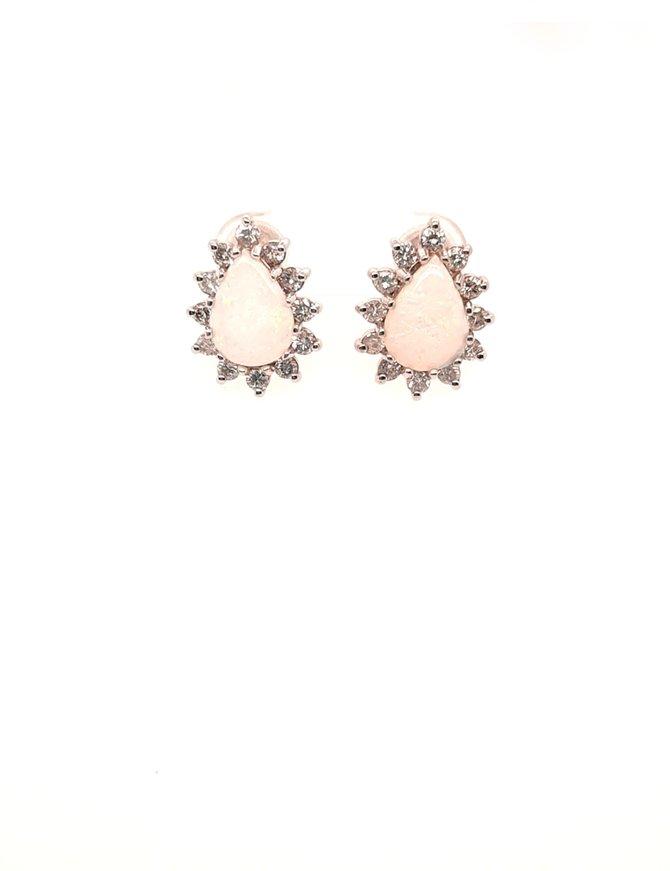 Opal (2 ctw) & diamond (1.00 ctw) earrings, 14k white gold