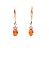 Fire opal (0.89 ctw) & diamond (0.07 ctw) earrings, 14k yellow gold, 1.71g
