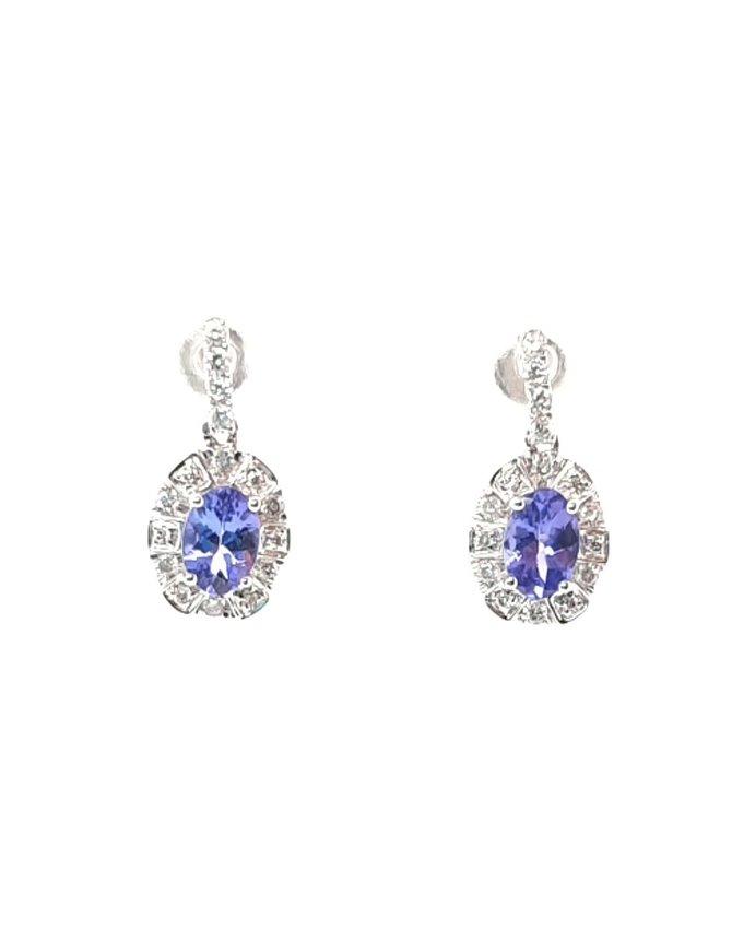 Tanzanite (0.95 ctw) & diamond (0.25 ctw) halo dangle earrings, 14k white gold
