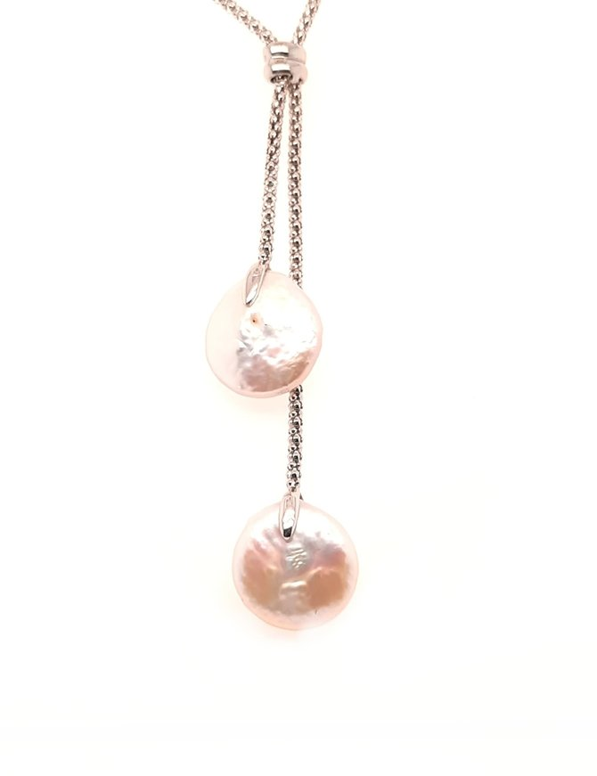 """Double coin pearl lariat, sterling silver 18"""""""