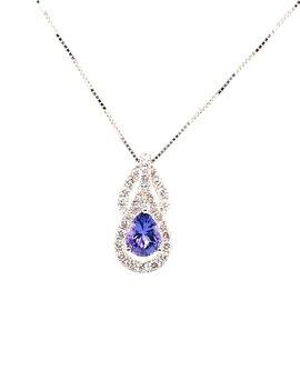 Tanzanite (0.75 ctw) & diamond (0.43 ctw) pendant, 14k white gold with chain