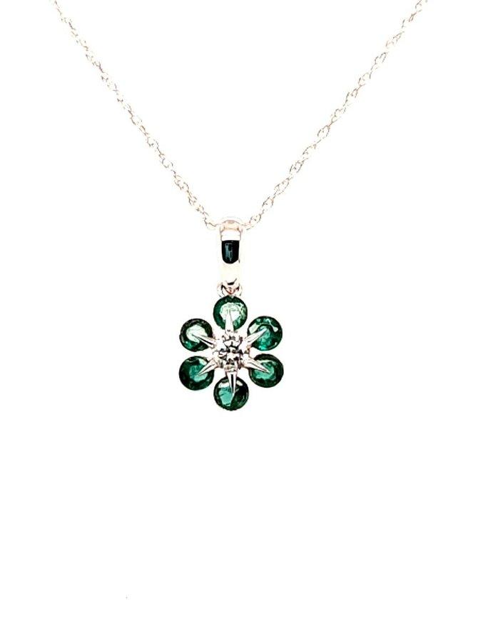 Emerald (0.48 ctw) & diamond (0.11 ctw) pendant, 14k white gold, chain included
