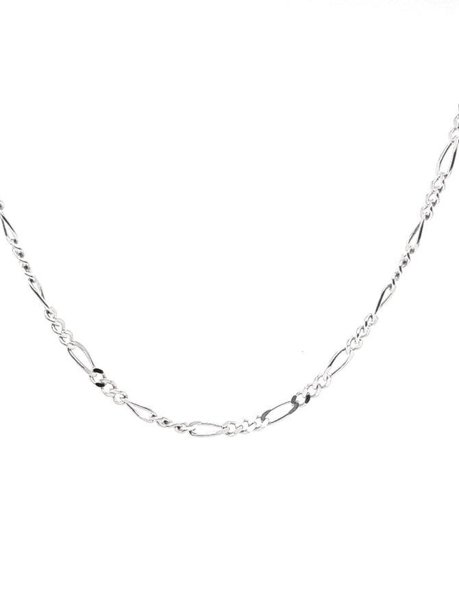 Figaro Necklace 14k White Gold 4.2g