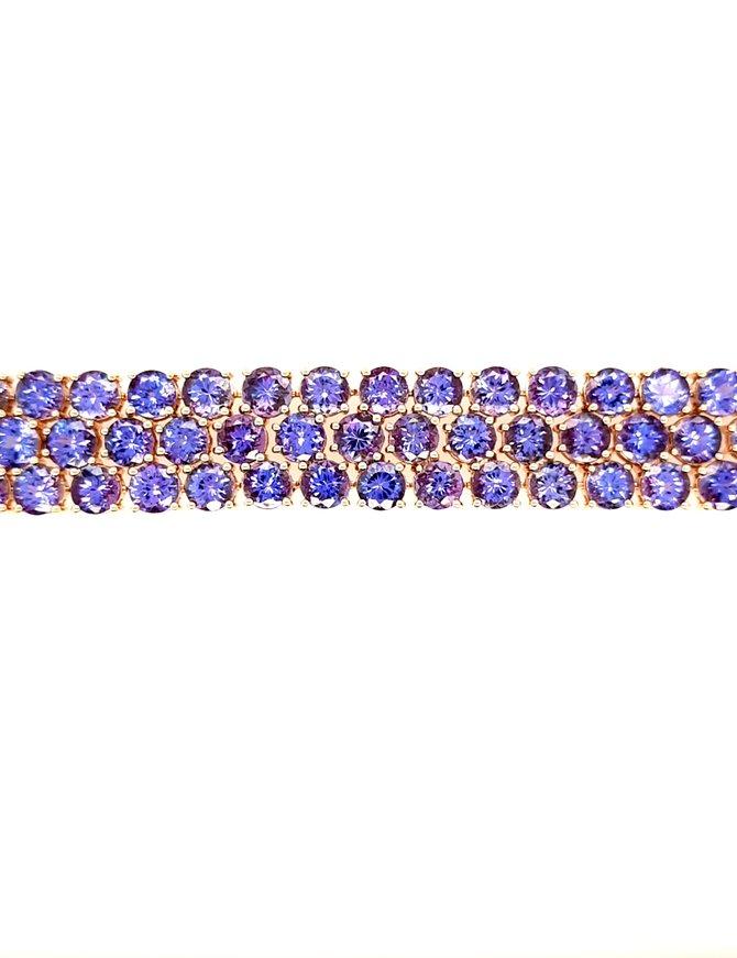 Tanzanite (64 ctw) 3-row bracelet, 18k rose gold, 33.8g