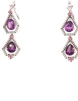 SS amethyst, white zircon, rhodalite, earrings