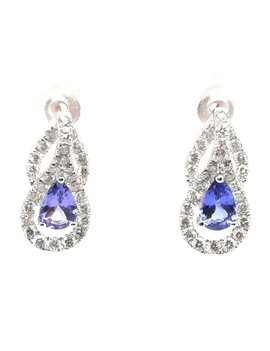 Tanzanite (0.86 ctw) & diamond (0.78 ctw) dangle earrings, 14k white gold