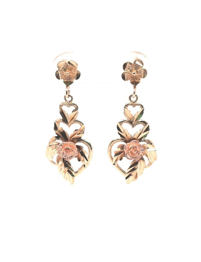 Two Tone Earrings (10kt) Yellow & Rose Gold 2.5g