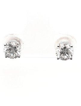 Diamond (1.50 ctw) 4 prong stud earrings, 14k white gold