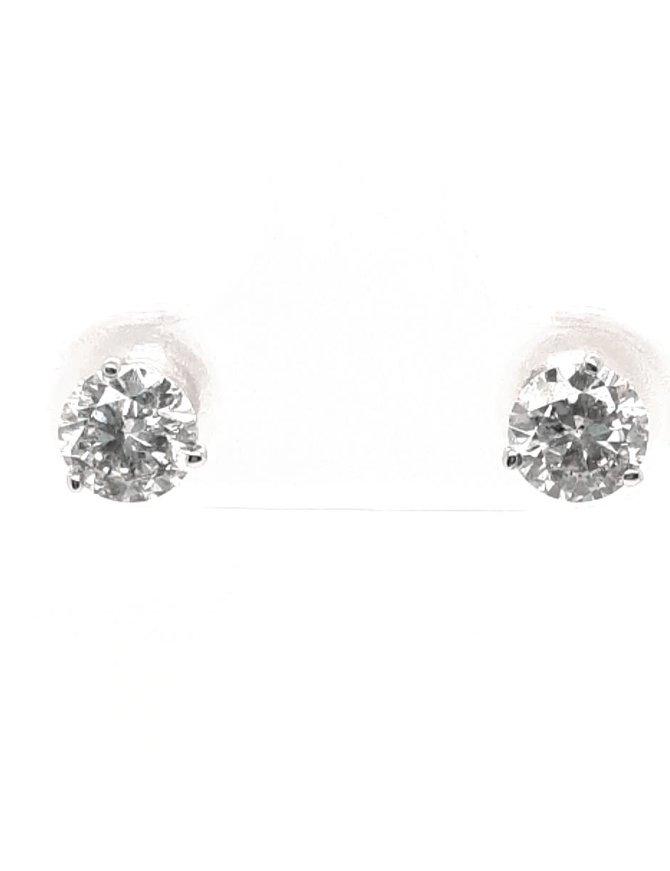 Diamond (1.09 ctw) 3-prong stud earrings, 14k white gold