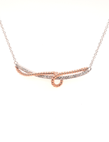 Diamond (0.13 ctw) braided necklace, 10 k rose gold & sterling silver