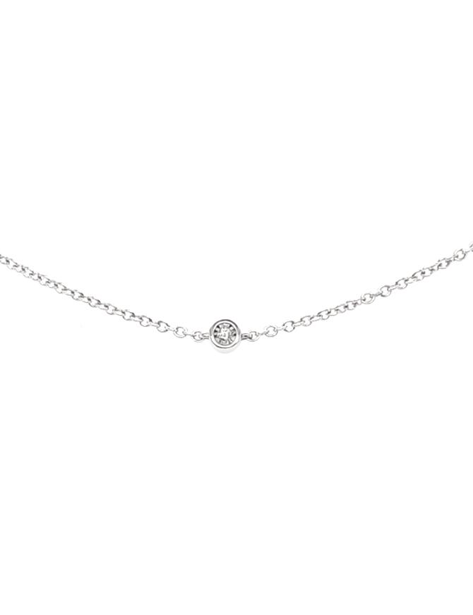Diamond by the yard necklace, bezel set, 14k white gold 0.25 ctw