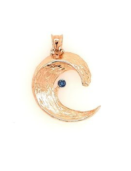 """TQ Original blue diamond (0.07ct) """"Wave of Life"""" pendant, 14k yellow gold, chain not included"""