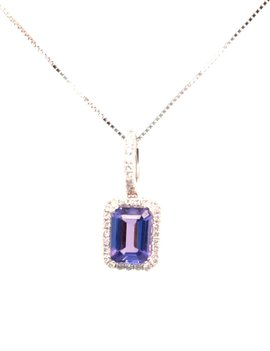 Tanzanite (0.85 ct) & diamond (0.15ctw) pendant, 14k white gold, with chain