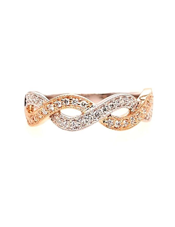 Diamond(0.25ctw) two tone braided ring, 14k white & yellow gold