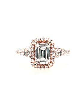 Emerald cut diamond (0.30 ctw) halo setting, 14k white & rose gold, shown with a cz, center stone not included