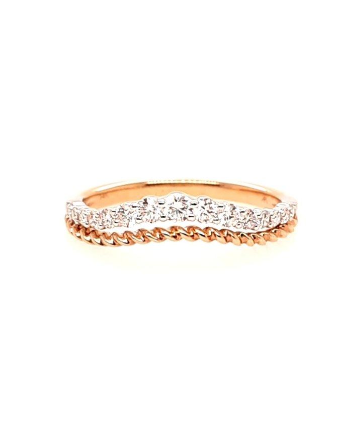 Diamond (0.30 ctw) curved enhanced band, 14k white & yellow gold