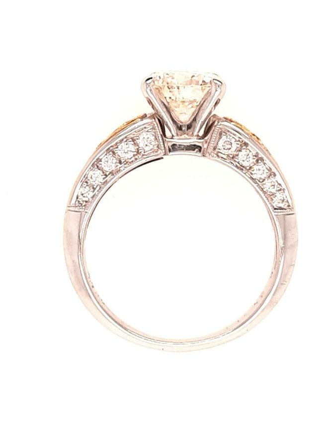 Diamond (1.51 ct center, K-L/SI; 1.88 ctw) Simon G engagement ring, 18k white & yellow gold