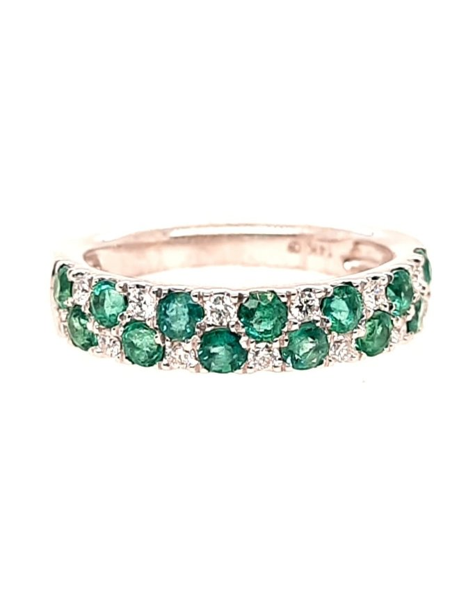 Emerald (1.04ctw) & diamond (0.20ctw) band, 14k white gold