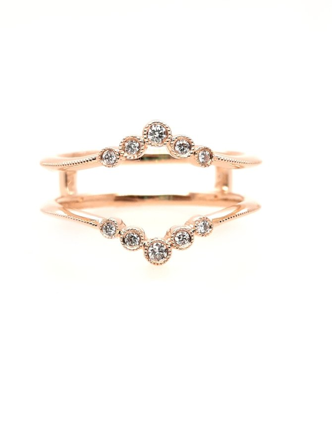 Diamond(0.10ctw) small circles ring guard, 14k yellow gold