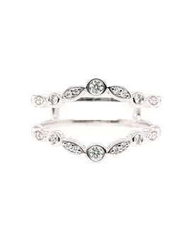 Diamond(0.20ctw) dainty style ring guard, 14k white gold