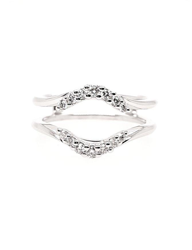 Diamond(0.24ctw) round center ring guard, 14k white gold