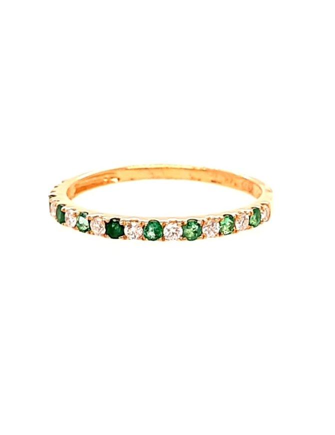 Emerald (0.18 ctw) & diamond (0.14 ctw) ring, 14k yellow gold