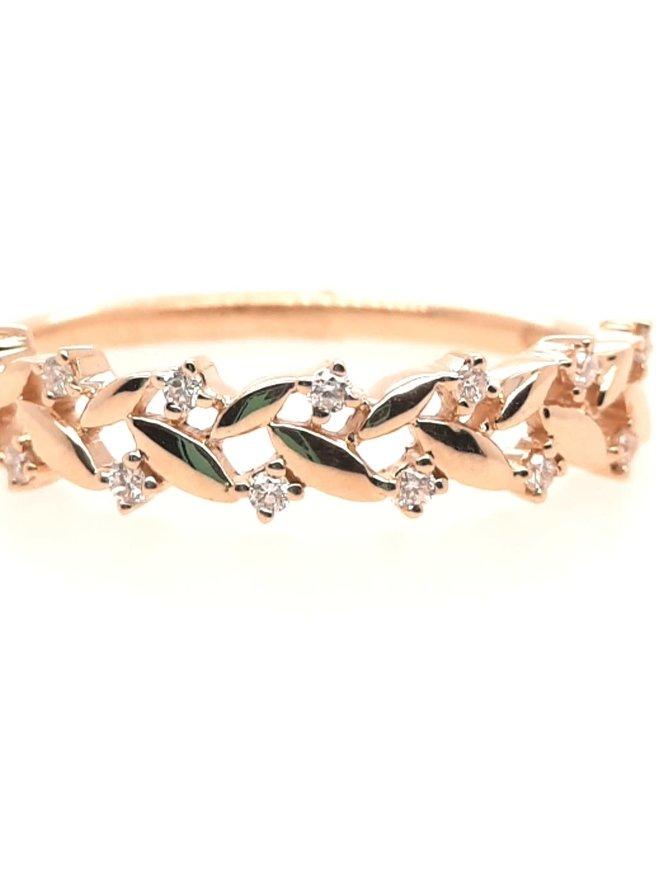 Diamond(0.08ctw) x style band ring, 14k yellow gold