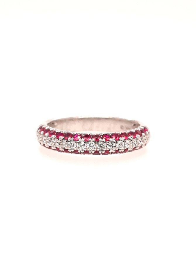 Ruby(.75ctw) & diamond(.25ctw)14k white gold3 row band ring