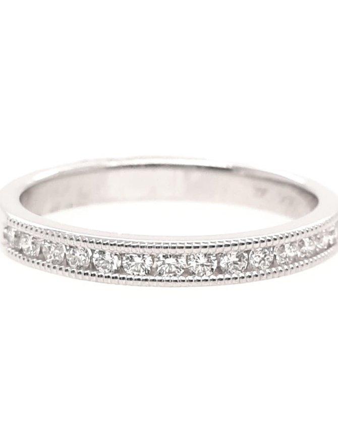 Diamond (0.25ctw) channel set beaded edge band, 14k white gold