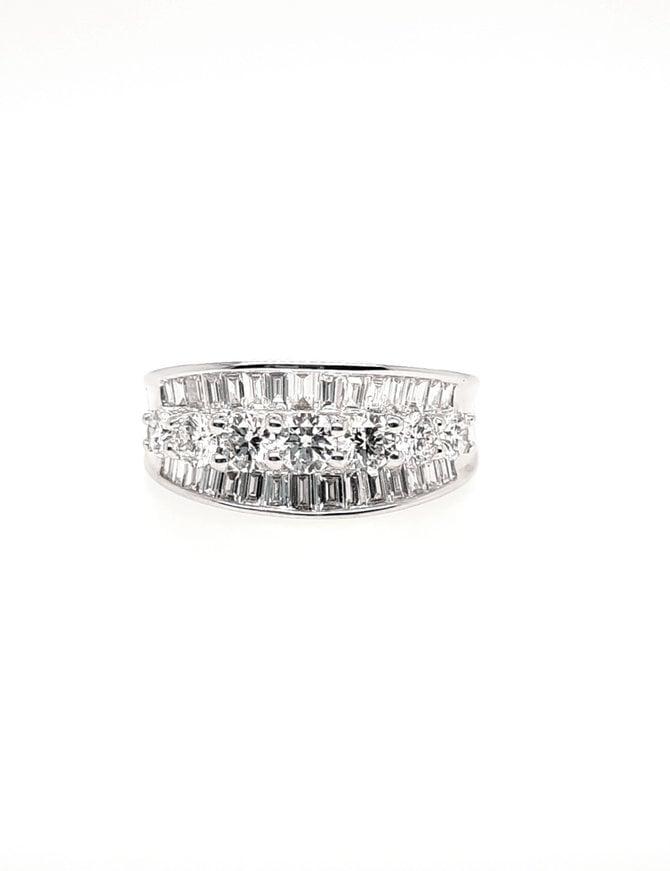 Round & baguette diamond (1.44 ctw) band, 18k white gold