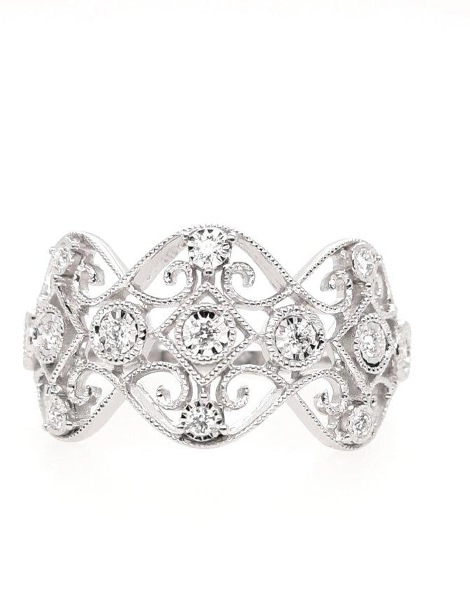 Diamond (0.15ctw) beaded edge fashion ring, 14k white gold