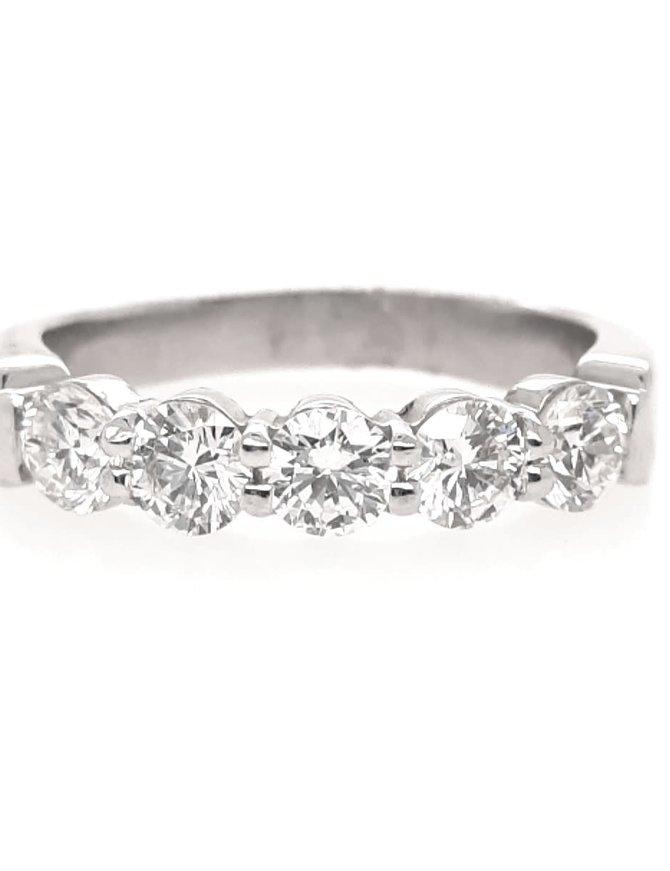 Diamond (1.00ctw) 5 stone band G-H/SI, platinum