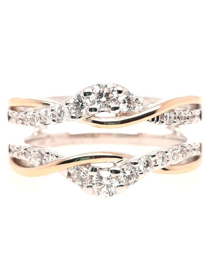 Diamond (0.48ctw) two tone twisted ring guard, 14k white & yellow gold