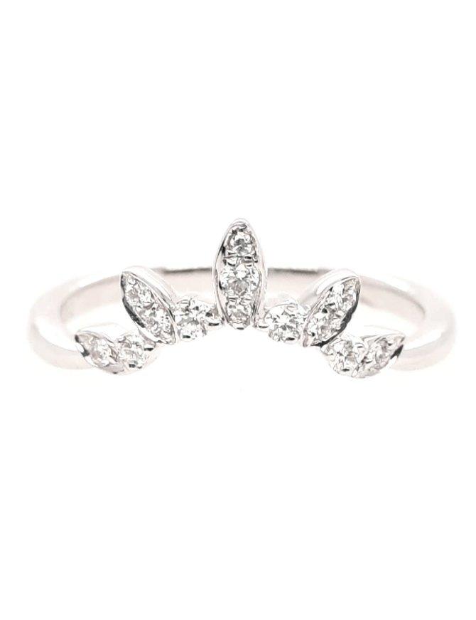 Diamond (0.14ctw) tiara-look wrap band, 14k white gold
