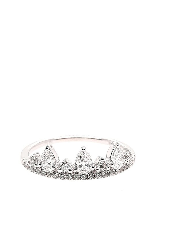 14K WHITE GOLD DIAMOND 0.51CTW TIARA RING 1.6G