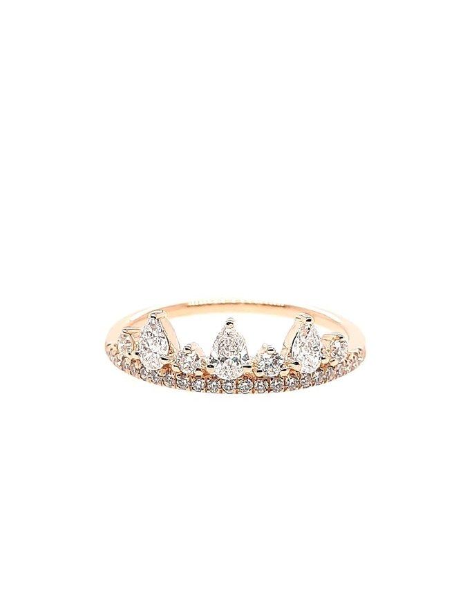14K YELLOW GOLD DIAMOND 0.51 CTW TIARA RING 1.6G