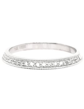 Diamond (0.25ctw) beaded edge band 14k white gold