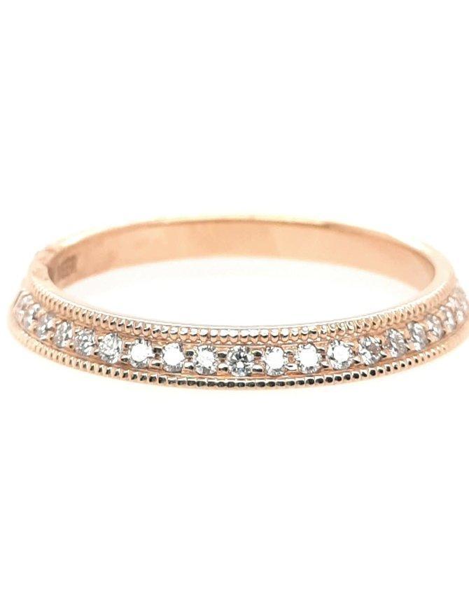 Diamond (0.25ctw) beaded edge band, 14k yellow gold