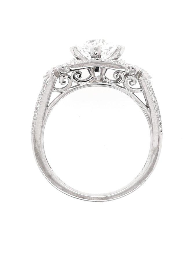 Diamond (0.20ctw, cz ctr) antique style setting, 14k white gold