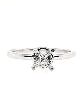 Diamond (0.11 ctw) solitaire with fancy head, 14k white gold