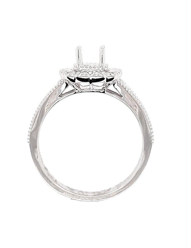 Diamond (0.38 ctw) halo with beaded setting, platinum