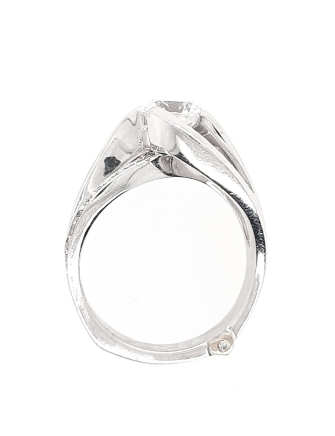 Diamond (0.18 ctw) swirl setting, 14k white gold, shown with a cz
