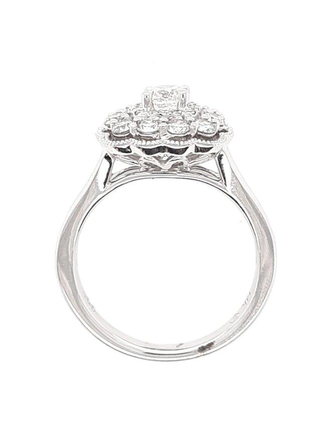 Diamond (0.38 ct center, 0.61 ctw) beaded halo setting, 14k white gold