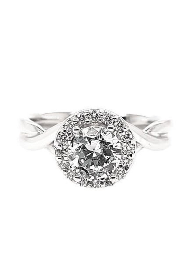 Diamond (0.16 ctw) halo twisted band setting, 14k white gold, shown with a cz, center stone not included